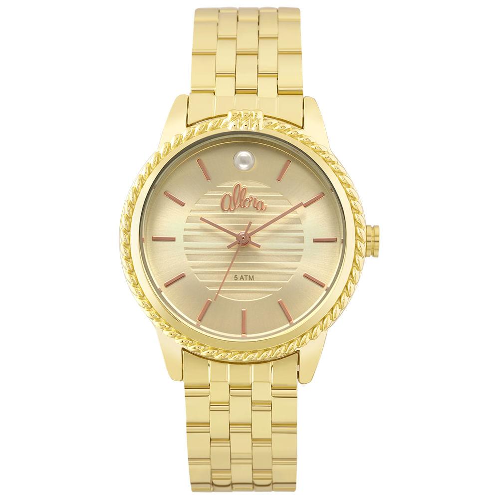 34b7c4707b6 Relógio Allora Feminino Ao mar AL2035FKV 4X - Dourado - timecenter