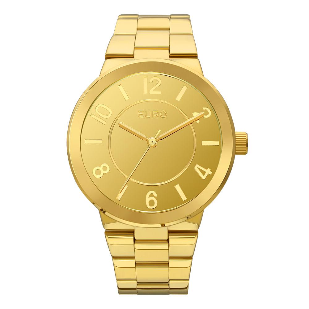 42e0d5bcb64 EU2036YLD4K. EU2036YLD4K. Euro. Relógio Euro Feminino Espelhados  EU2036YLD 4K - Dourado