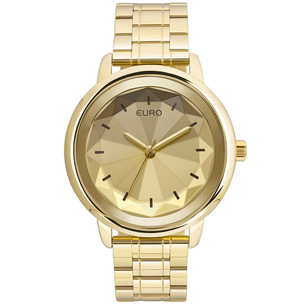 d2413448722 Relógio Euro Feminino Flash Facetado EUY121E6DC 4D - Dourado ...