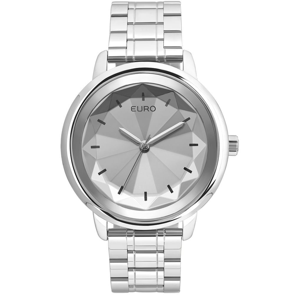 81540634891 Relógio Euro Feminino Flash Facetado EUY121E6DD 3K - Prata - timecenter