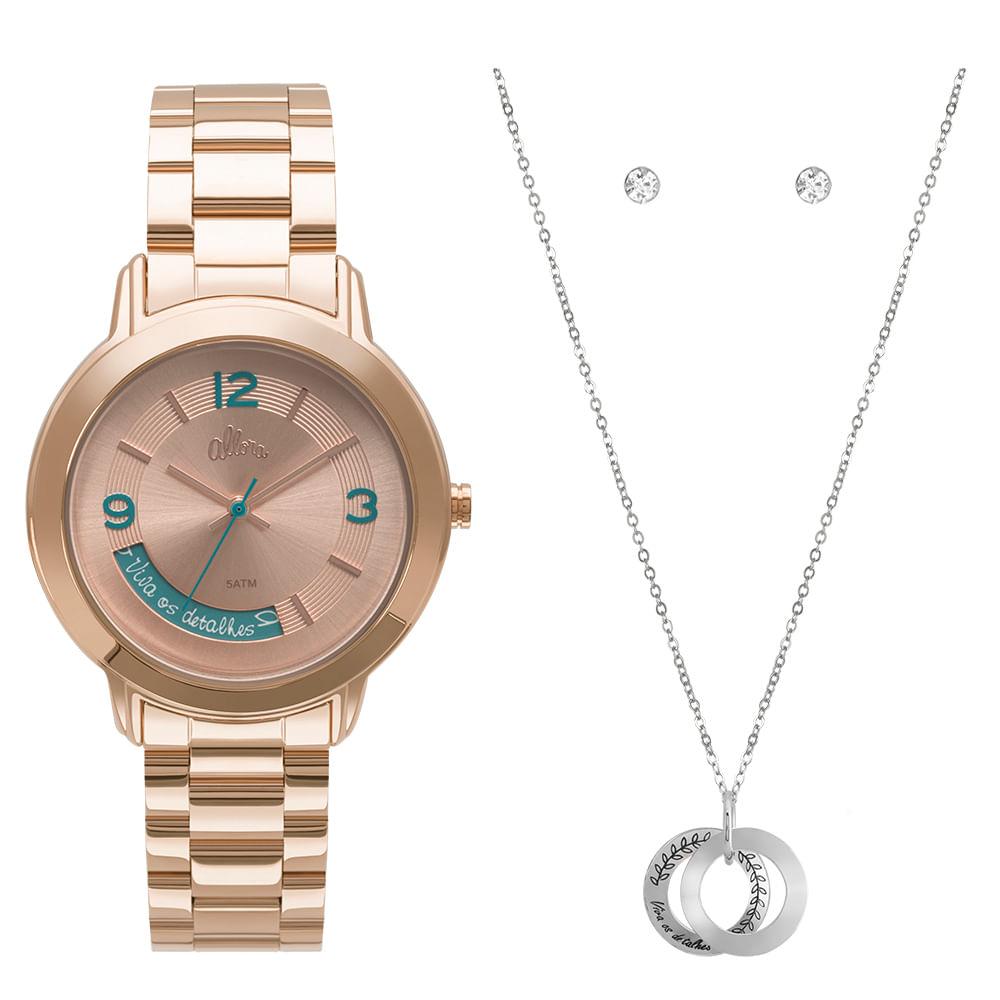 9448445c7bf Kit Relógio Allora Feminino Serena AL2315AJ K4T - Rose - timecenter