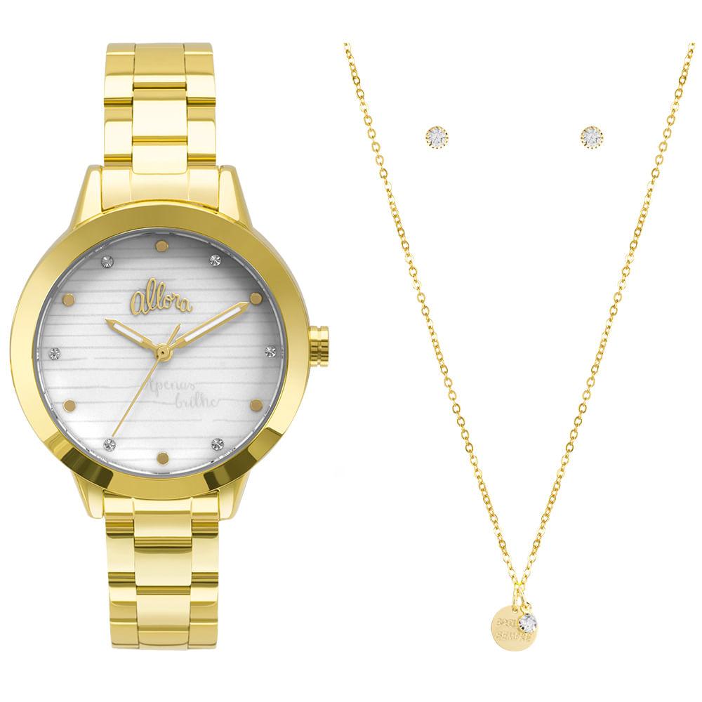 c06e13912b1 Kit Relógio Allora Feminino Serena AL2036FLV K4B - Dourado - timecenter