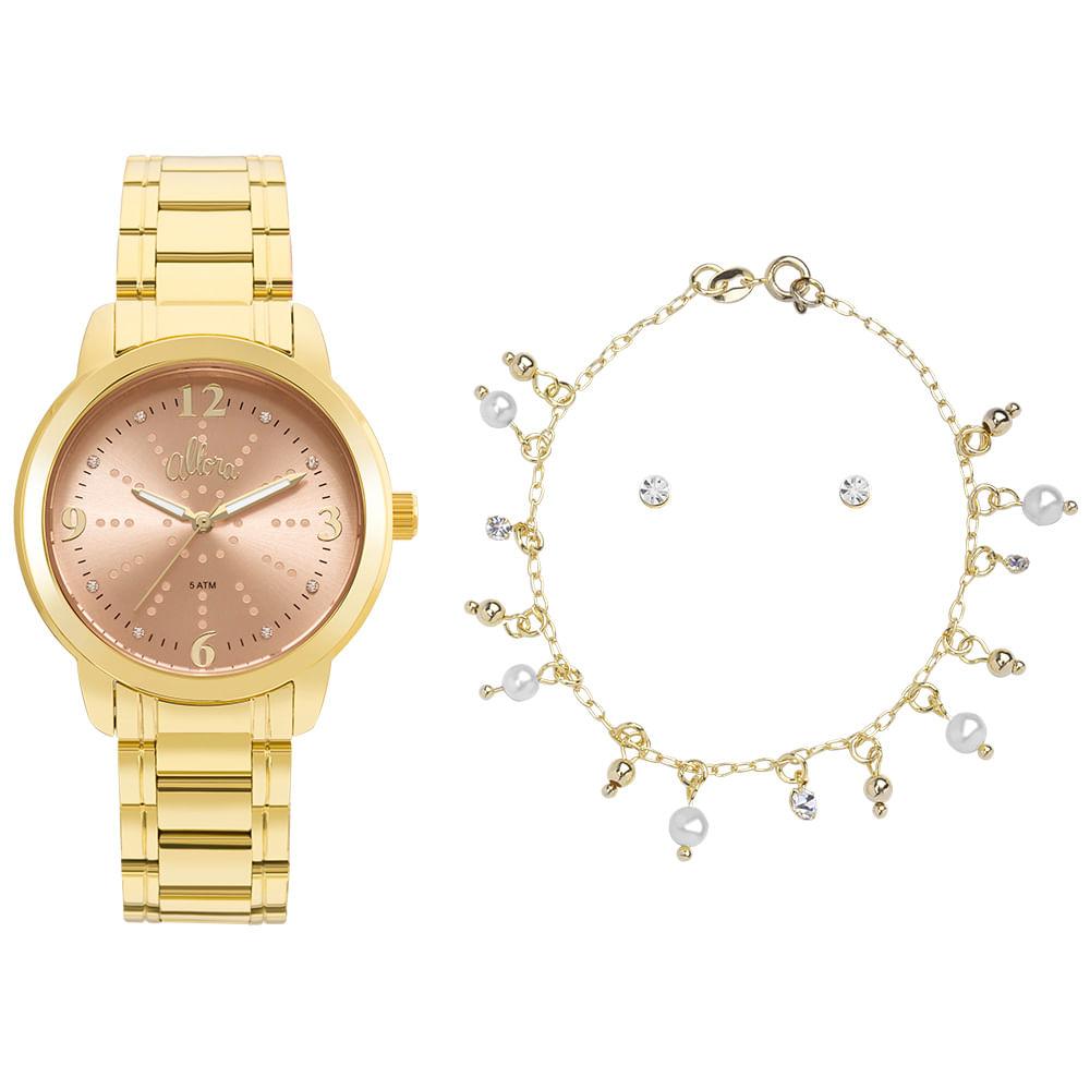 47c8f0c2ad5 Kit Relógio Allora Feminino Algodão Doce AL2035FMF K4L - Dourado ...