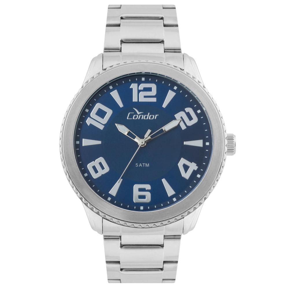 b25efbd4fff Relógio Condor Masculino Metal E Couro CO2035KSP 3A - Azul - timecenter