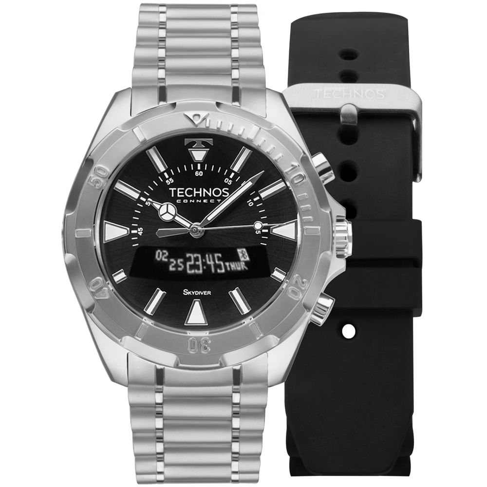 Relógio Technos Connect Skydiver Prata SCAA 1P - timecenter bf5215f7be