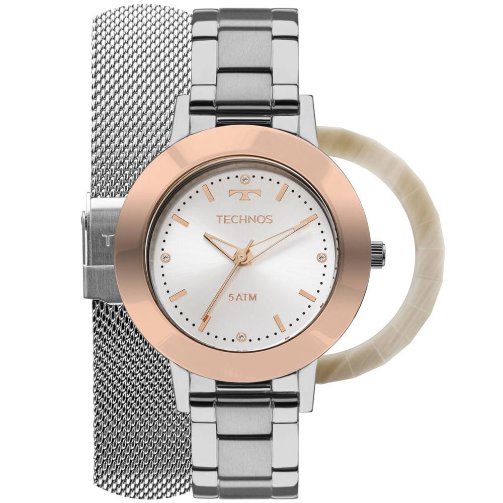 Relógio Technos Feminino Unique 2035MLK T1K - Prata - Tempo de Black ... 87c2e653e4