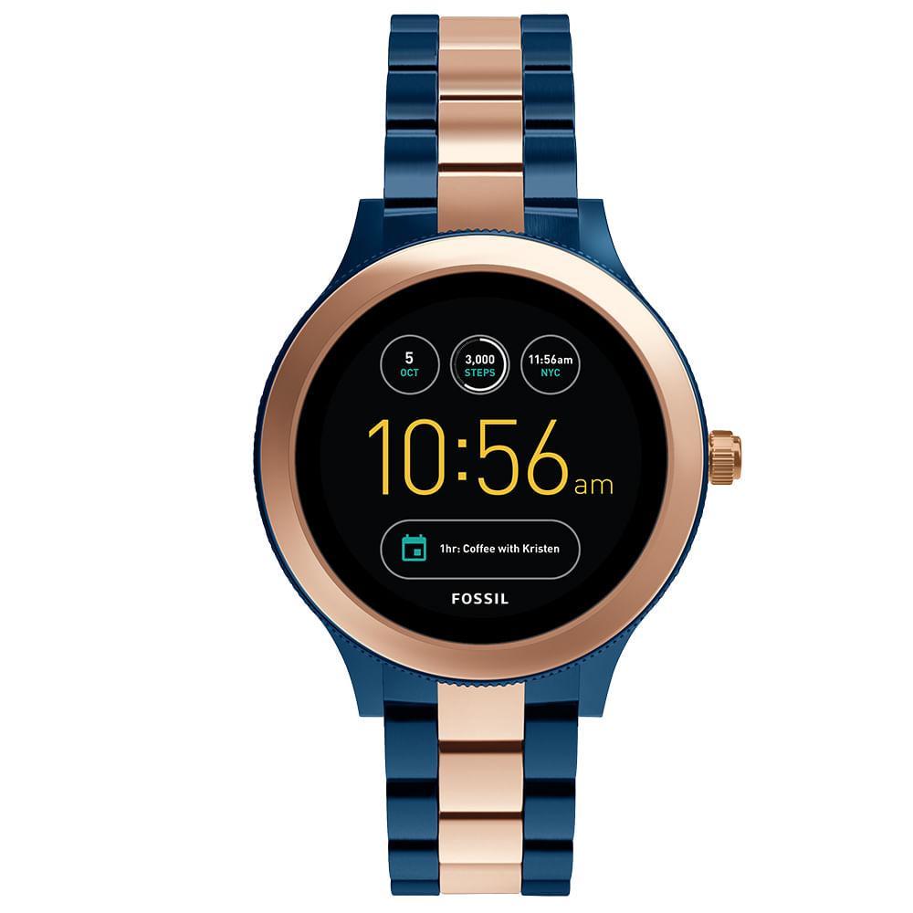 Smartwatch Fossil Feminino Azul e Rosé - timecenter 22b40b3869