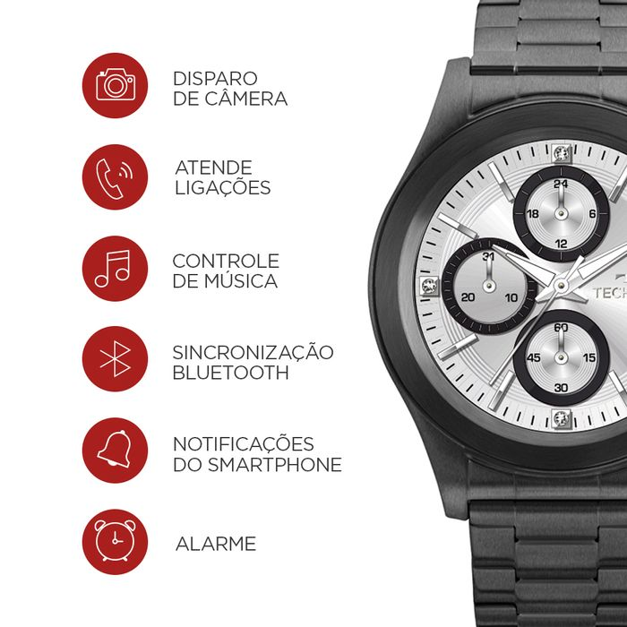Relógio Technos Connect Full Display 3.0 Preto SRAF 4P - technos 285dbad863