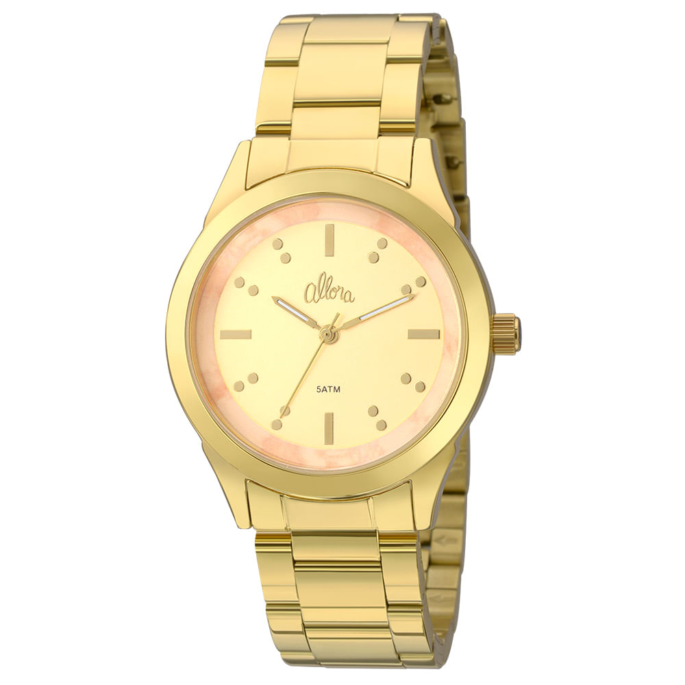 fd23bc457e4 Kit Relógio Allora feminino Marmorizados AL2035FKJ K4T - Dourado ...