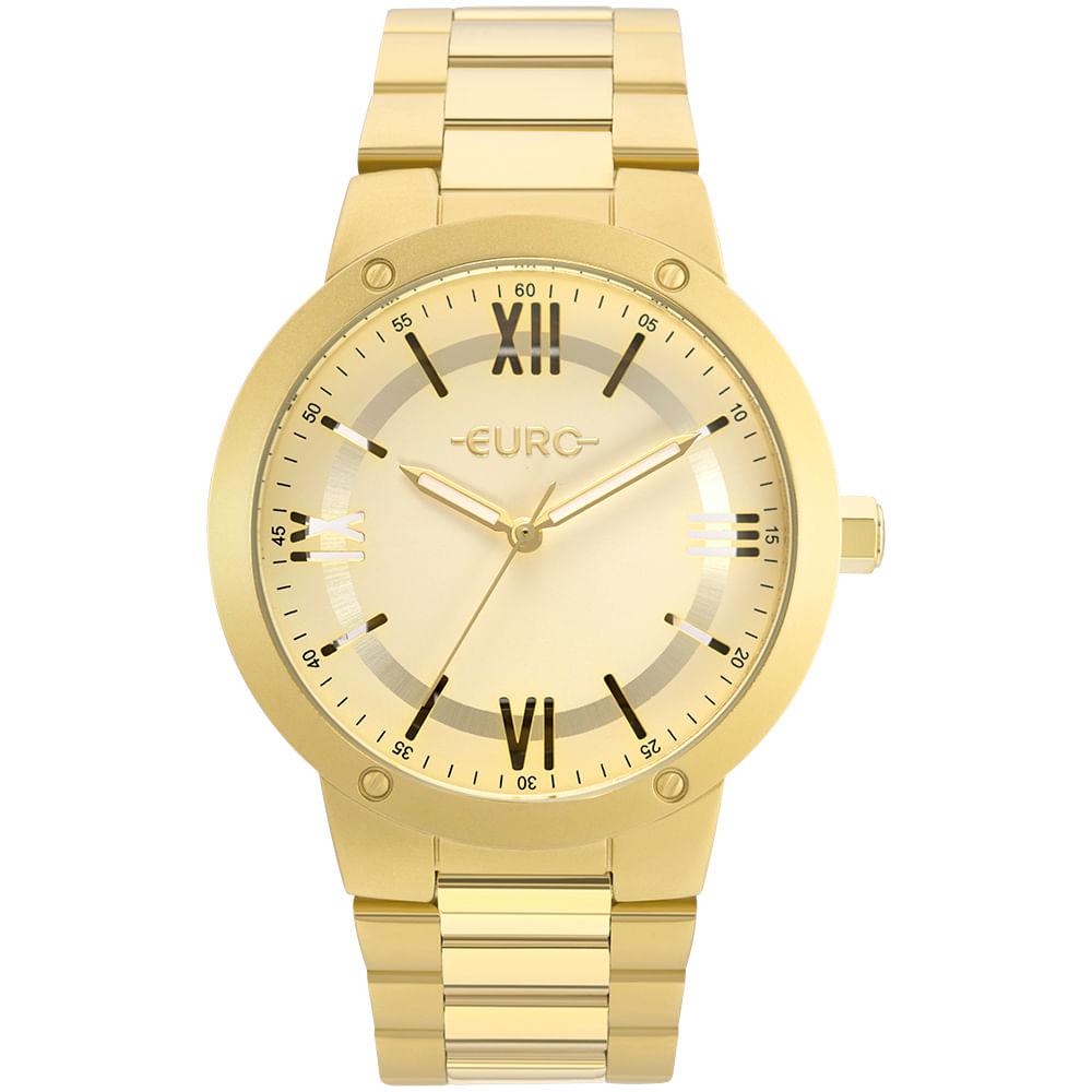 0422567983cca O Relógio Euro Feminino Dourado tem mostrador vazado com fundo transparente  (os números em algarismos romanos tem um recorte) e dá pra ver através dele!