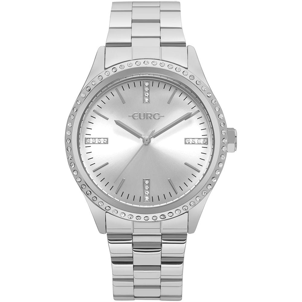 Relógio Euro Feminino Pedras Prata - EU2035YNR 3K - timecenter 8a32894e55