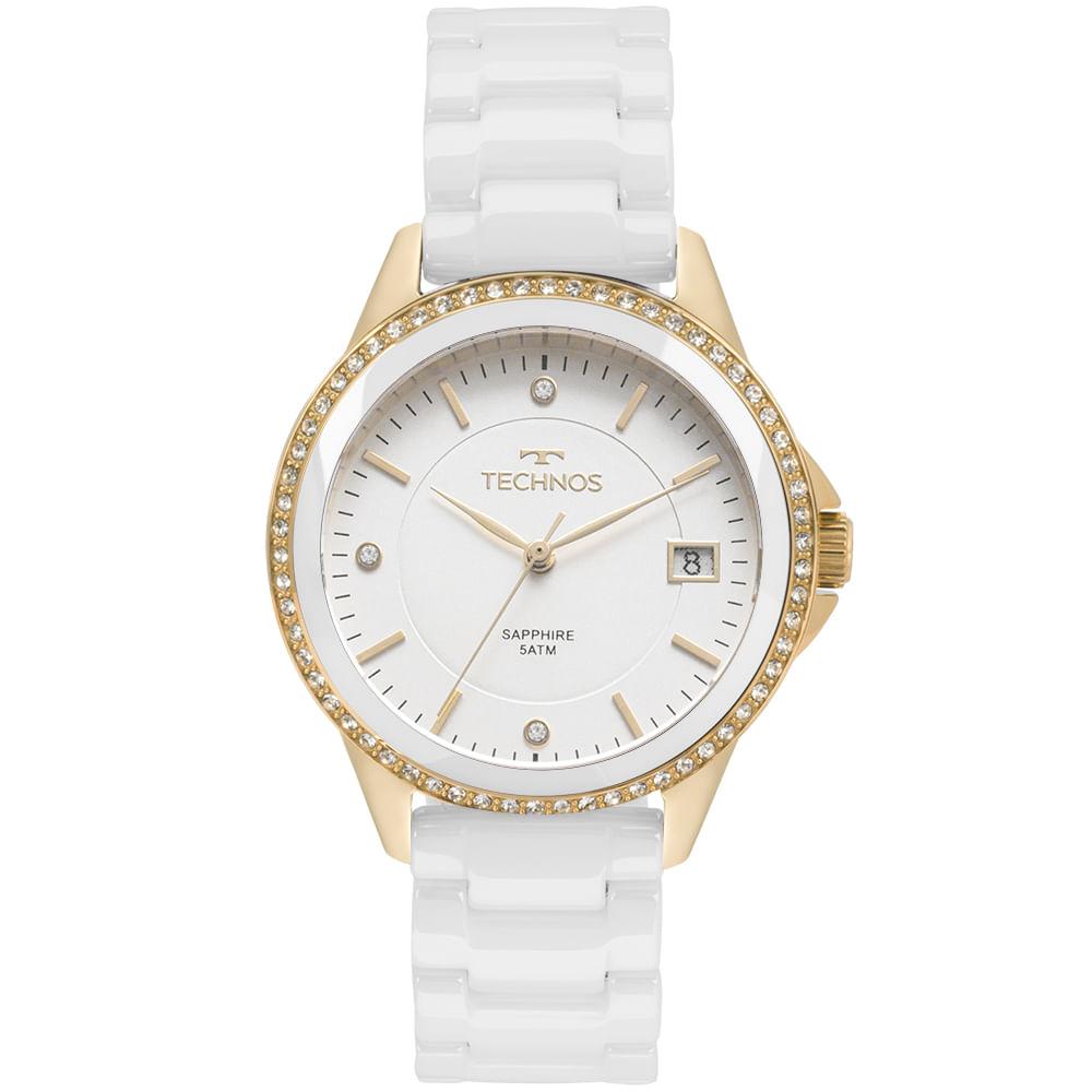 Relógio Technos Feminino Elegance Ceramic Saphire Dourado - 2315KZS ... 5d1fe7be05