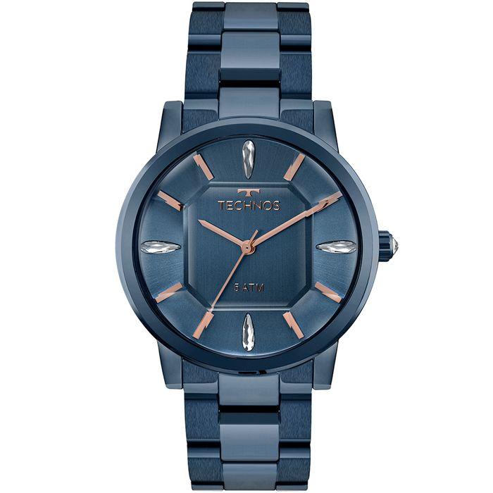 Relógio Technos Feminino Elegance Crystal Azul - 2039BT 4A - technos fb31b51109