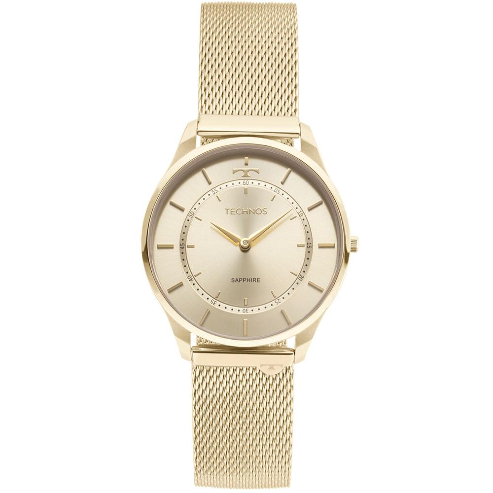 Relógio Technos Unissex Classic Slim Dourado - 9T22AK 4X - timecenter 64e92f0fe3