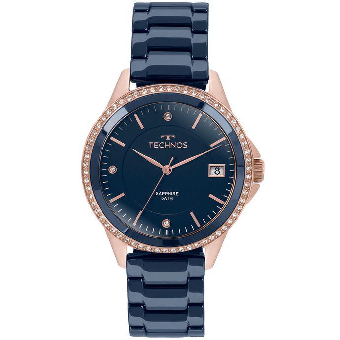 aef906f4e6e0b Relógio Technos Feminino Elegance Ceramic Saphire Rosé - 2315KZT 4A