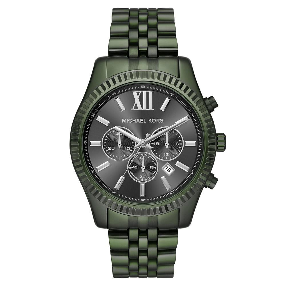 f3370394a9371 Relógio Michael Kors Feminino Essential Lexington Verde Militar ...