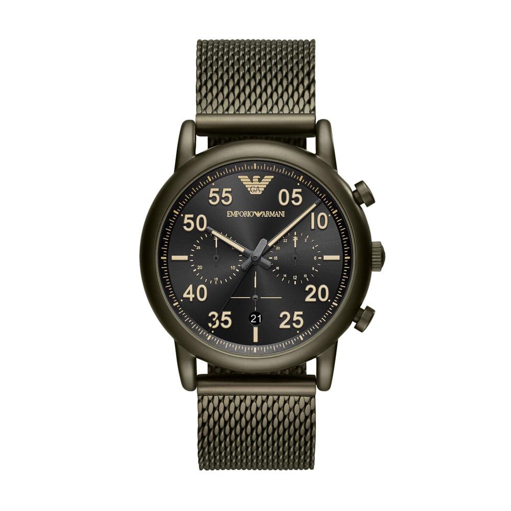 2e06b7393f918 Relógio Empório Armani Masculino Classic Luigi Verde Militar ...