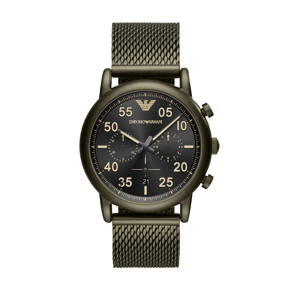 6cdd4cdd040 Relógio Empório Armani Masculino Classic Luigi Verde Militar ...