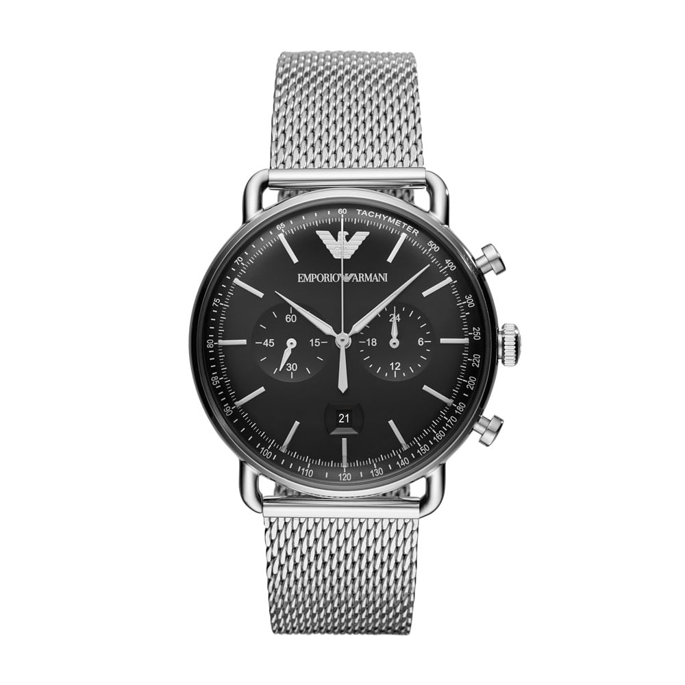 4c3d2516b574f Relógio Empório Armani Masculino Classic Aviator Prata - AR11104 1KN ...