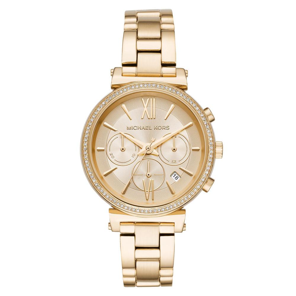 49bdebb7443 Relógio Michael Kors Feminino Essential Sofie Dourado - MK6559 1DN ...