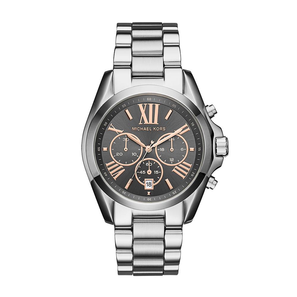 Relógio Michael Kors Feminino Bradshaw Prata - MK6557 1KN - timecenter db95d341be