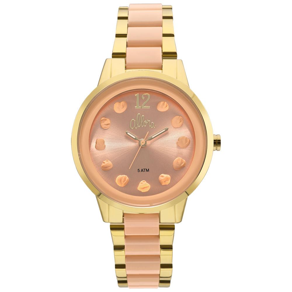 0405a767804 Relógio Allora Feminino Par Perfeito Flor Bicolor - AL2039AS K4L ...