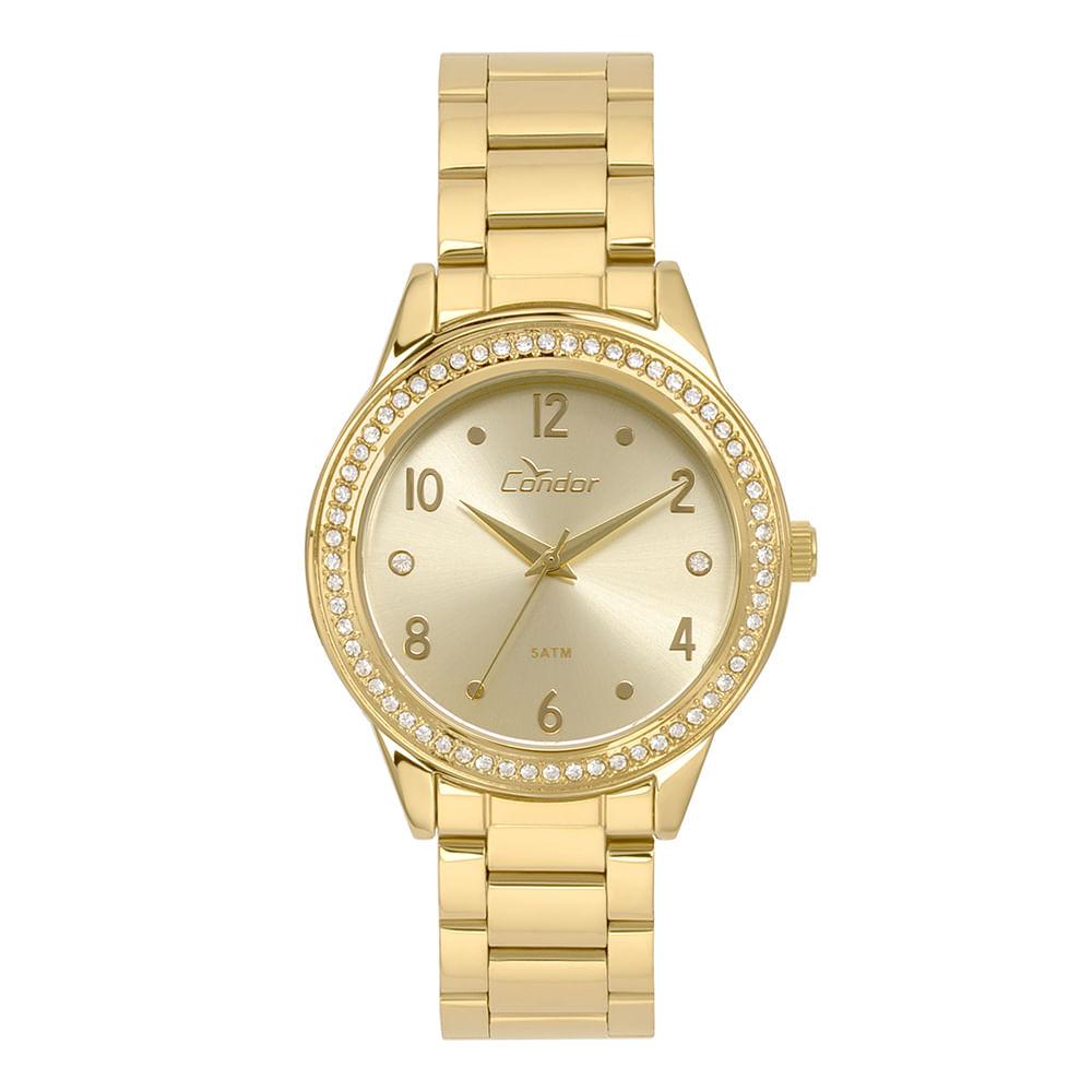 Relógio Condor Feminino Bracelete Dourado - timecenter 4203ded03b