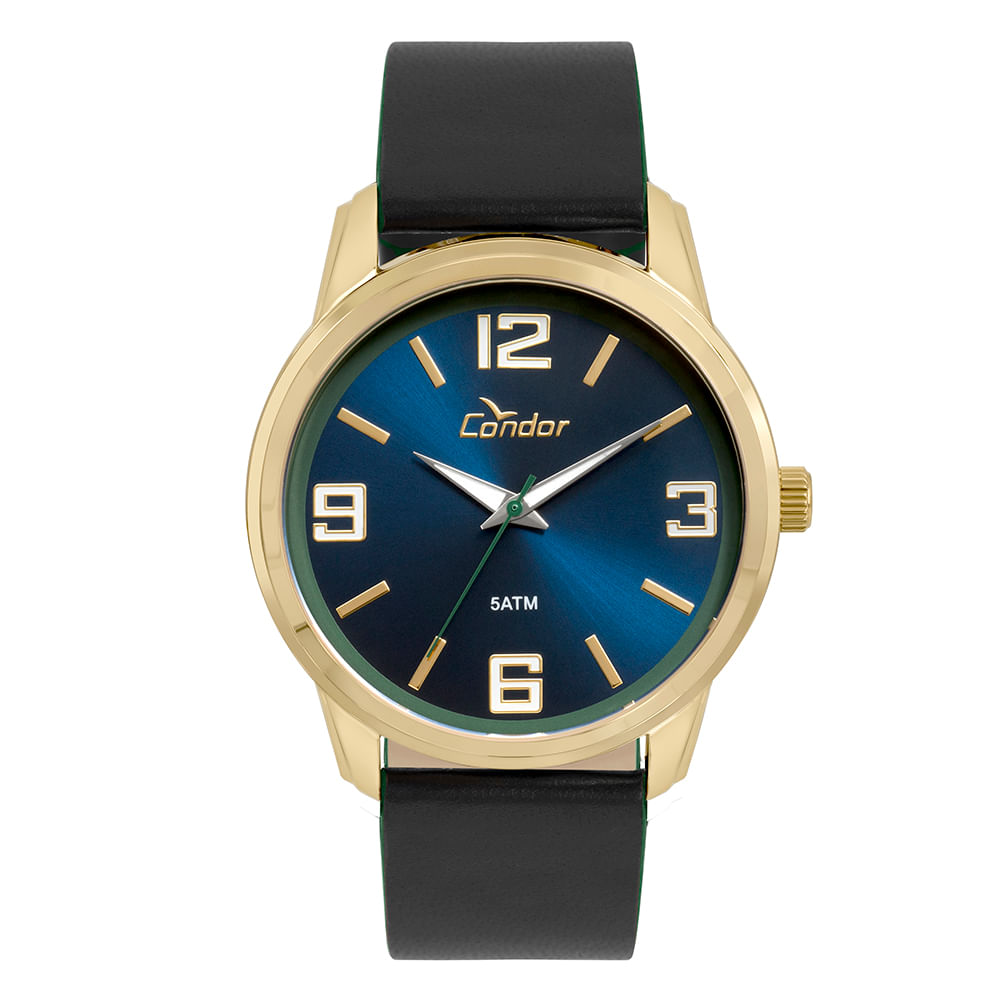 Relógio Condor Masculino Couro Dourado - timecenter e979b7d801