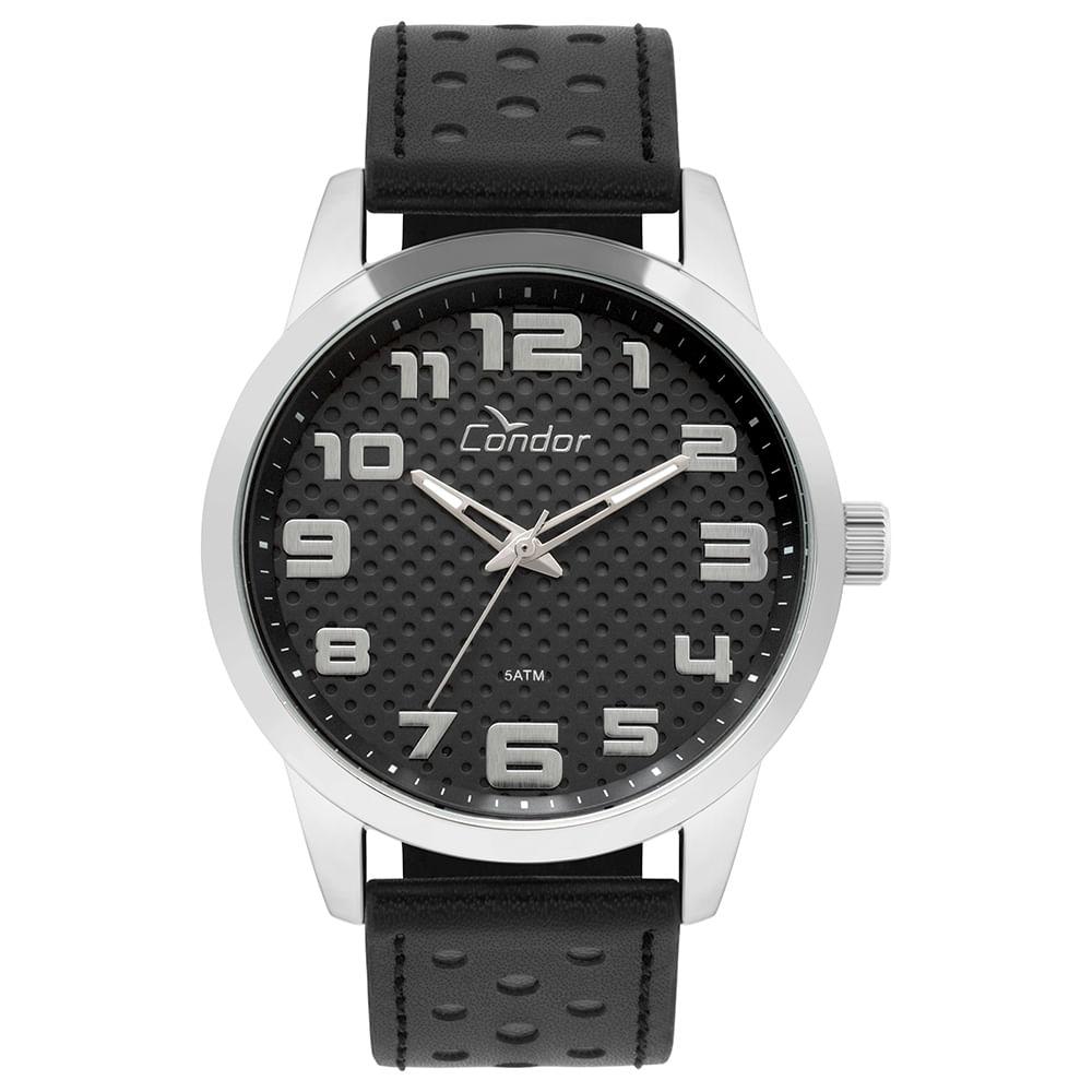 c49c4d528 Relógio Condor Masculino Couro Prata - timecenter