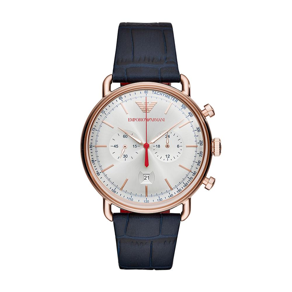 ceab61cd8e530 Relógio Empório Armani Masculino Aviator Chrono Rosé - timecenter