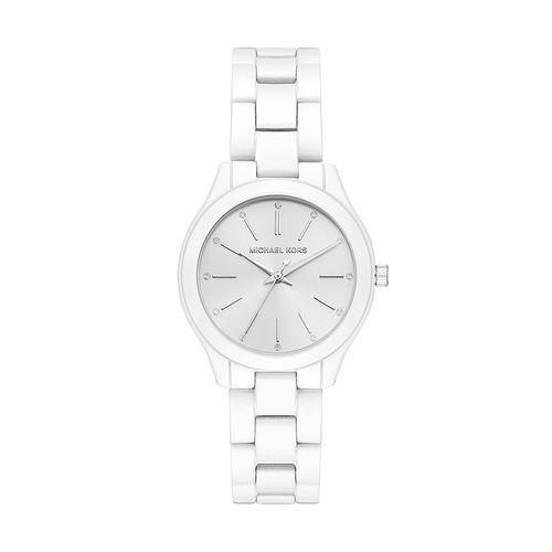 ca06c7b17b255 Relógio Michael Kors Feminino Slim Runway Branco - timecenter