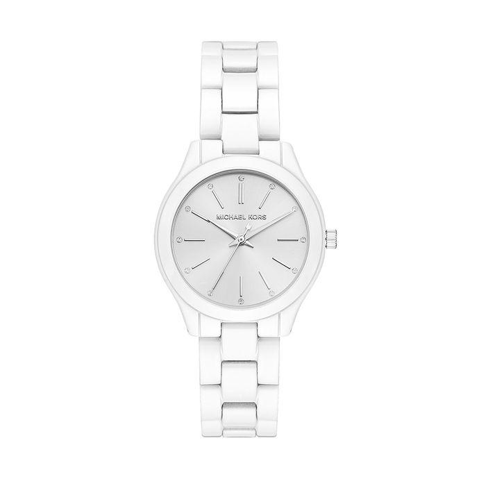 4c1e150cd99ed Relógio Michael Kors Feminino Slim Runway Branco - MK3908 1KN