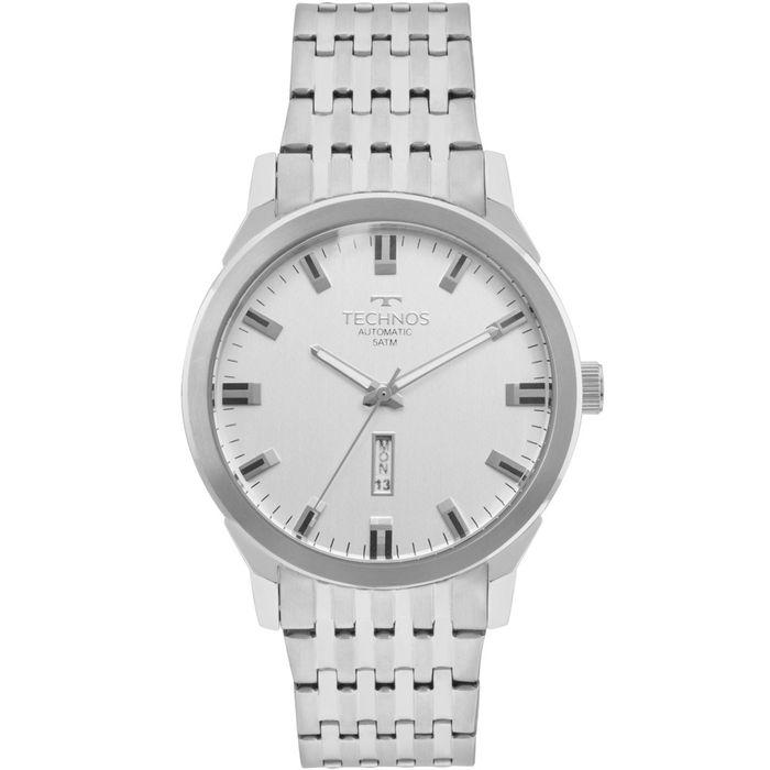 Relógio Technos Masculino Classic Automatico Prata - technos a6296a4a40