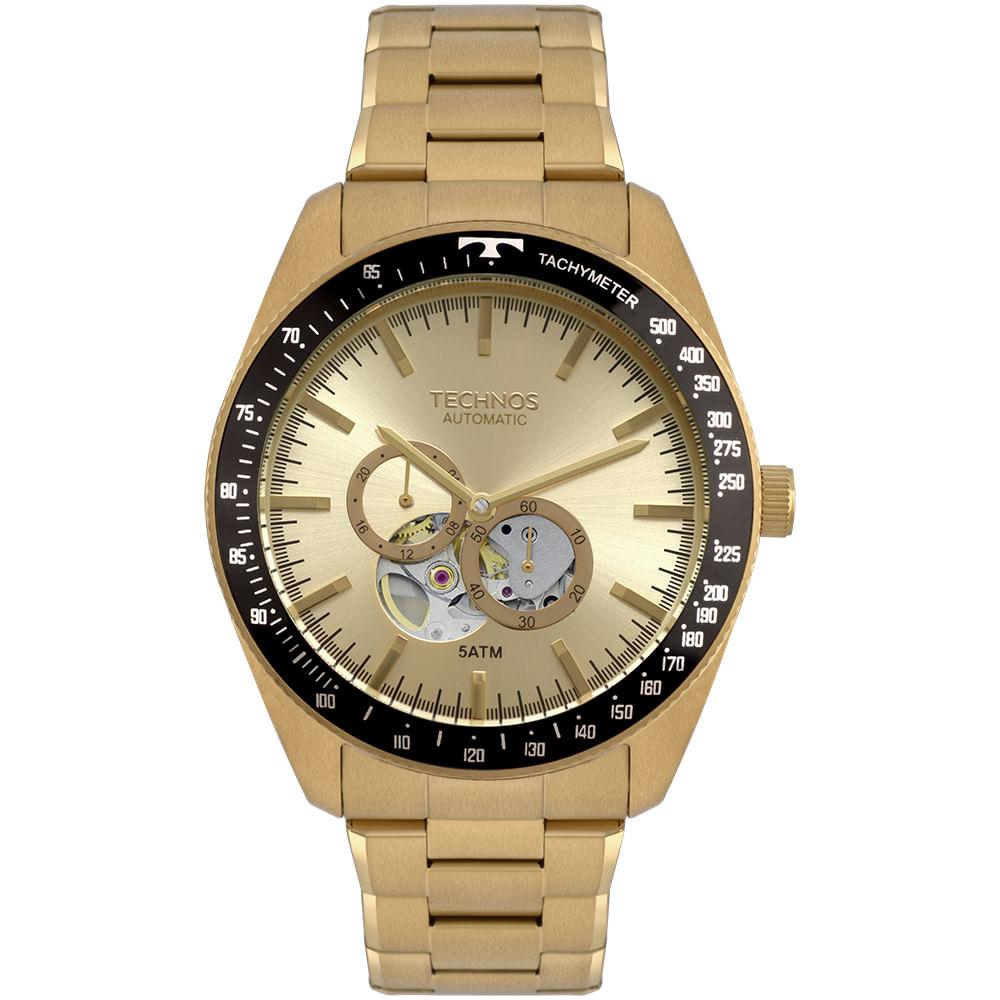 e5207e6c2dc3a Relógio Technos Masculino Automatico Dourado - timecenter