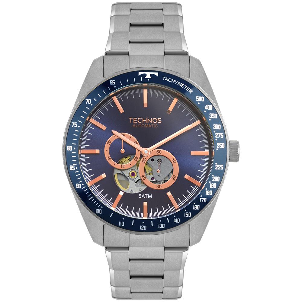 bf1b7eea714e4 Relógio Technos Masculino Automatico Prata - timecenter