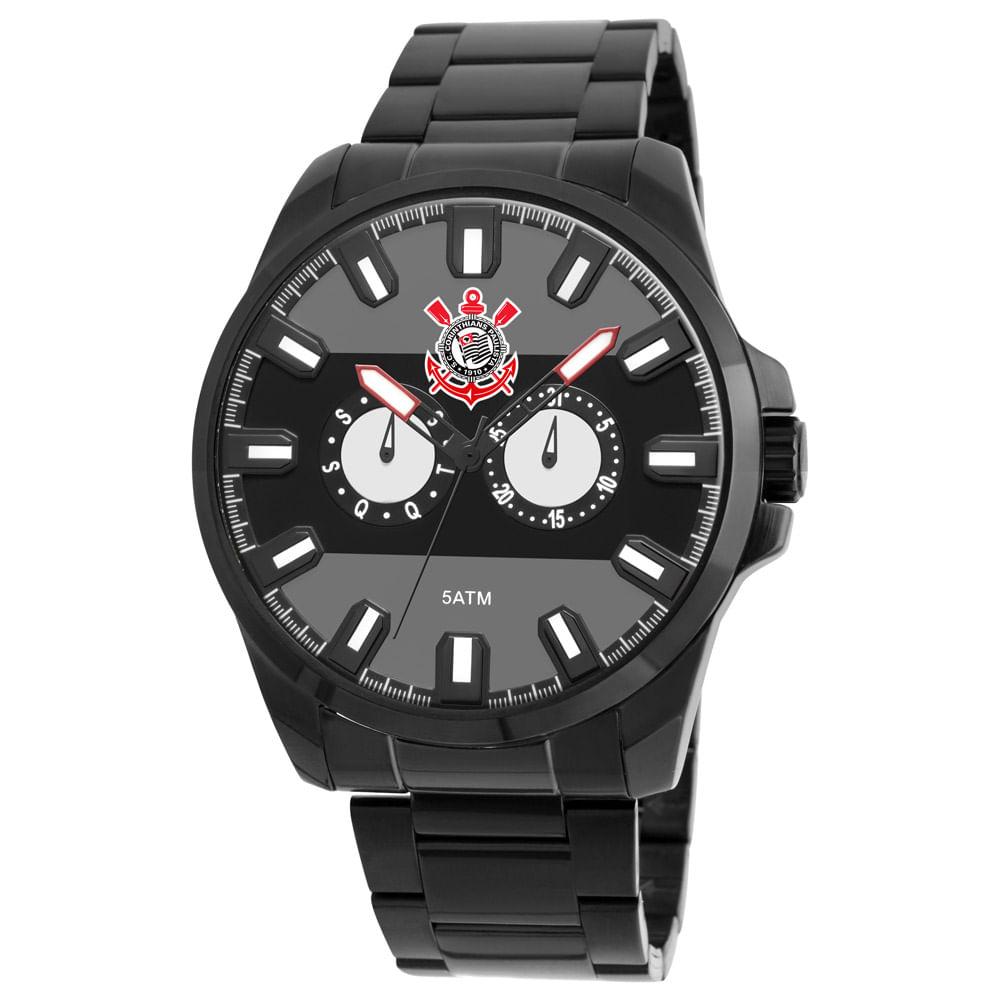 50cdd67fa71ad Relógio Times De Futebol Masculino Corinthians Preto - COSAO6P25AB P ...