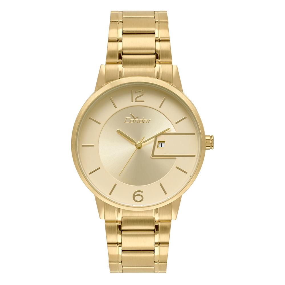 Relógio Condor Unissex Ultra Fino Dourado COGL10BV 4D - timecenter e9073f7e00