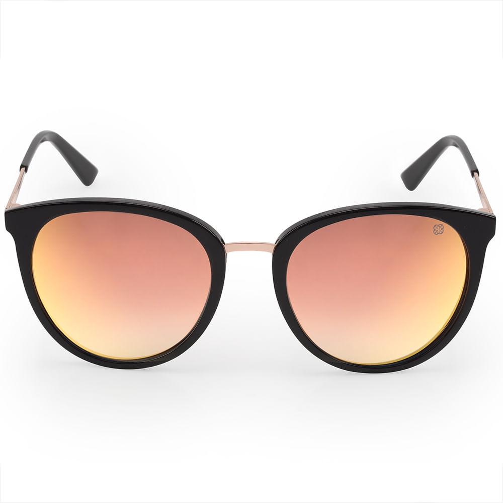 3d23a1249c6c4 O Óculos de Sol Euro Feminino Acetato Preto é da coleção redondos. Ele tem  armação de acetato preto brilhoso com ponte de metal na cor rosé. A lente é  ...