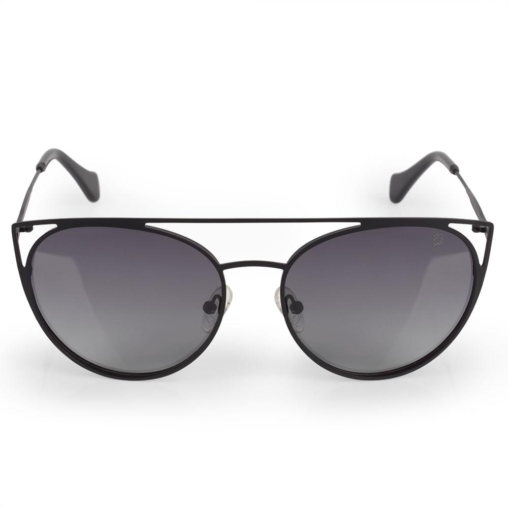 369e9fbc5d0 O Óculos de Sol Feminino Euro Preto é da coleção Recortes Metalizados. Ele  tem armação vazada