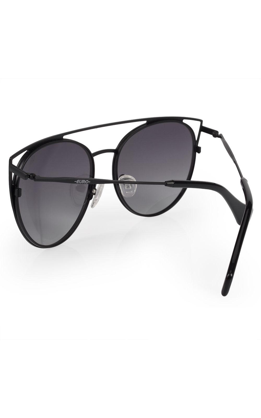 Foto 3 - Óculos Euro Feminino Recortes Metalizados Preto E0015A1433/4P