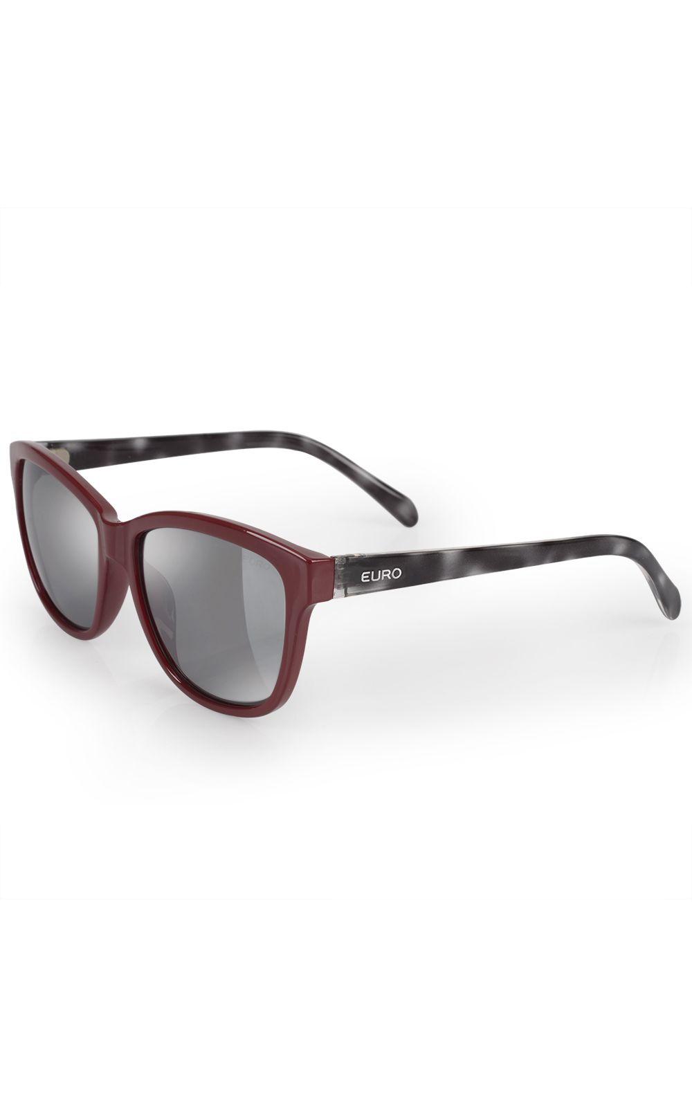 Foto 2 - Óculos Euro Feminino Quadrado Colors Vinho E0018C6309/4C