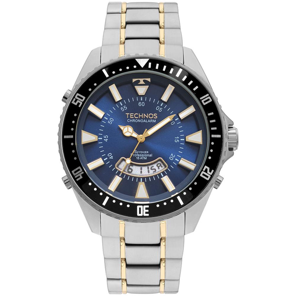 Relógio Technos Masculino Skydiver Prata T205JH 1A - timecenter 8abf9078f9