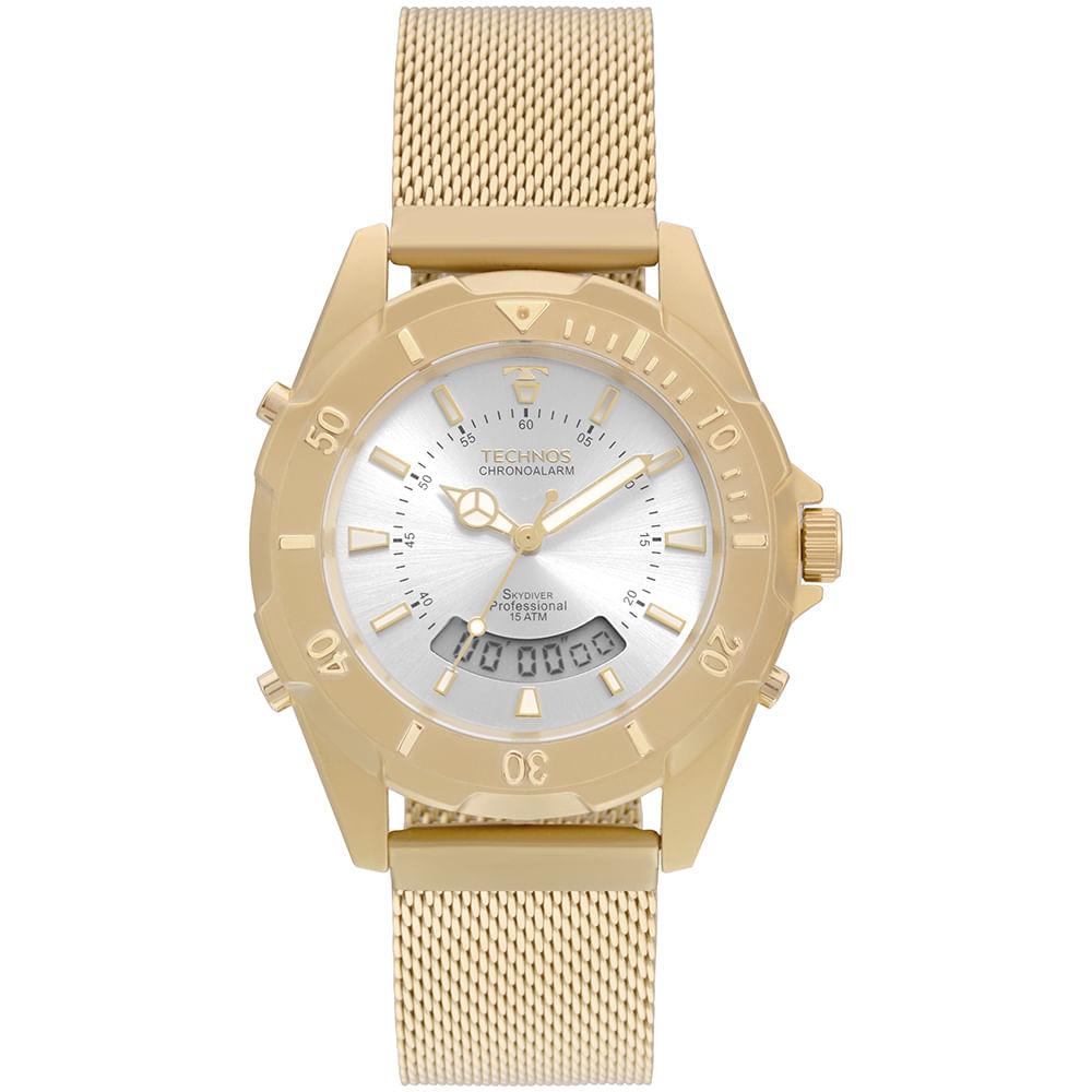 Relógio Technos Feminino Skydiver Dourado T205JF 4K - timecenter c742088200