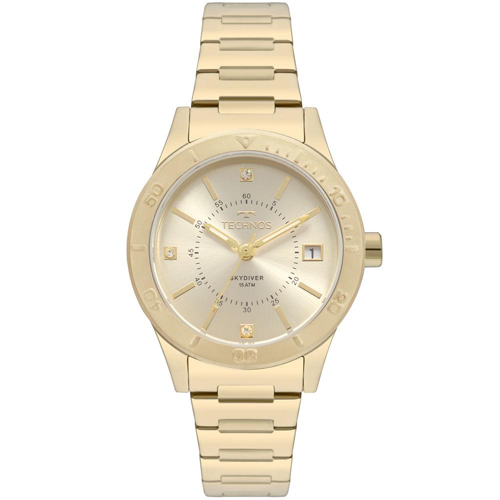 Relógio Technos Feminino Skydiver Prata 2115MOR 4X - timecenter 683b2181b1