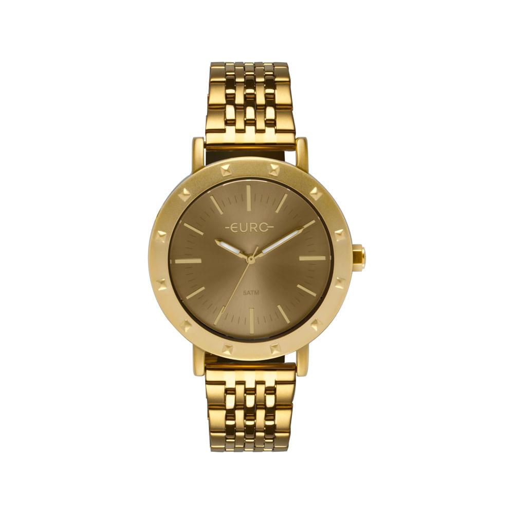 b59f9d60bb0 Relógio Euro Feminino Spike Fever Casual Dourado EU2035YPH 4D ...