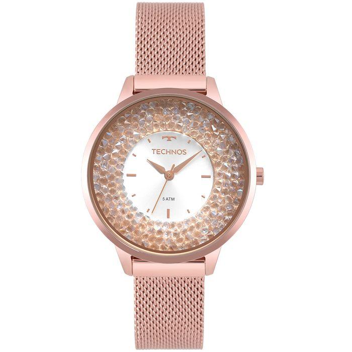 57b49d5e251 Relógio Technos Feminino Crystal Rosé 2035MQB 5K - technos