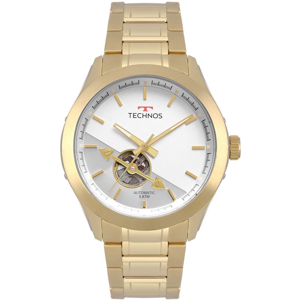 f247b5d5fb9 Relógio Technos Masculino Automatico Dourado 82S0AD 4B - timecenter