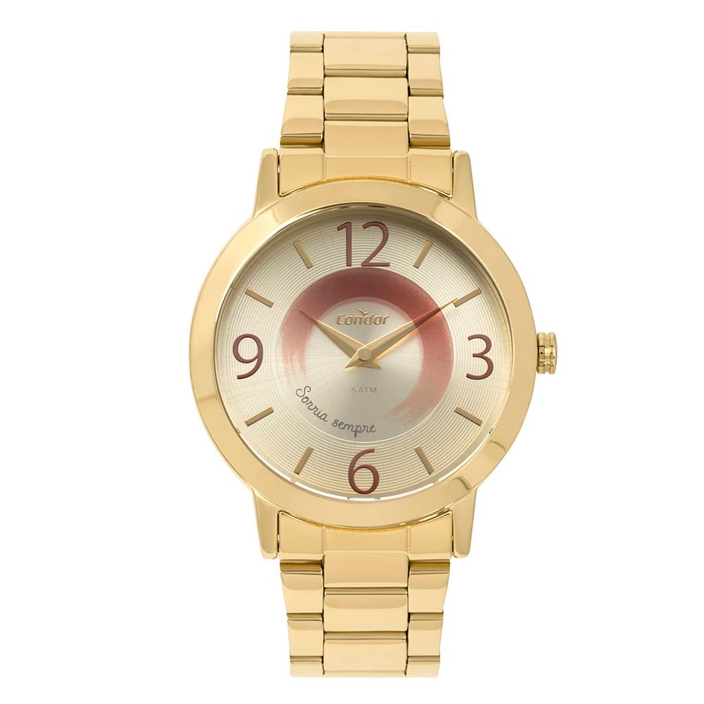 28cdc4bb790bb Relógio Condor Feminino Disco Dourado CO2034AA K4D. 0% Off. Código   CO2034AA K4D