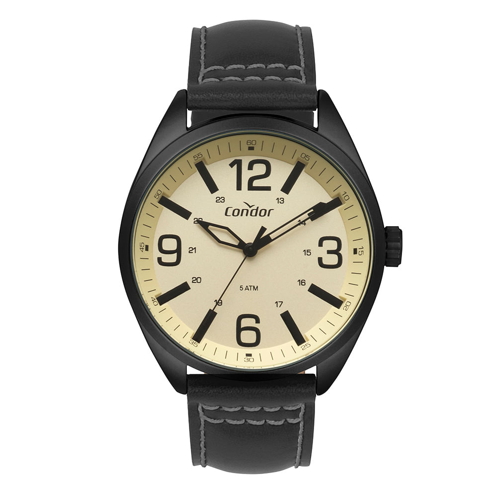 38760623200 Relógio Condor Masculino Couro Preto CO2035MPE 2D - timecenter