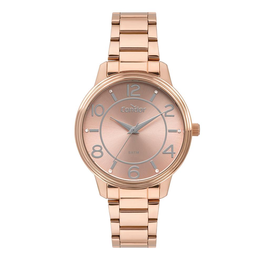 e7eaa291f5e Relógio Condor Feminino Bracelete Rosé CO2035MPO 4J - timecenter